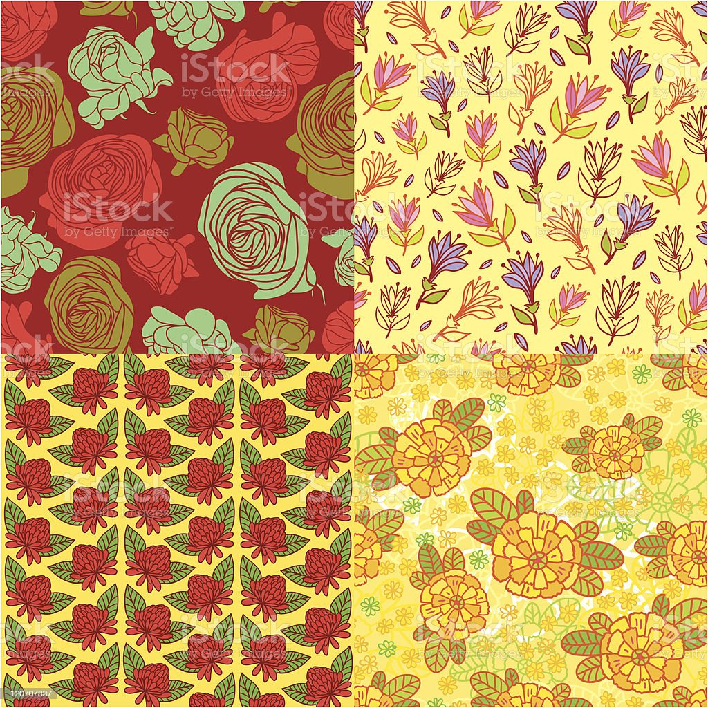 Beautiful floral patterns royalty-free stock vector art