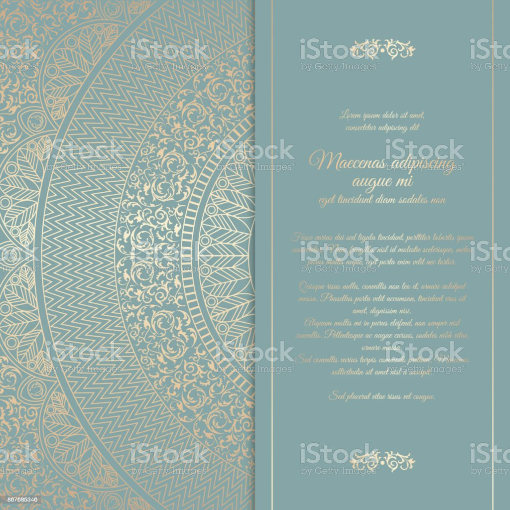 Beautiful floral square invitation card with golden round pattern. Vintage wedding cover design template. Vector mandala background with message space vector art illustration