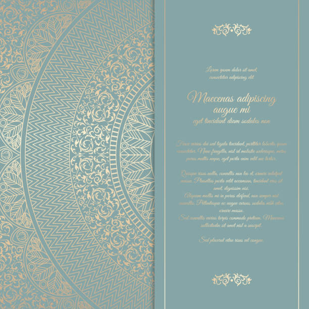 beautiful floral square invitation card with golden round pattern. vintage wedding cover design template. vector mandala background with message space - renaissance style stock illustrations, clip art, cartoons, & icons