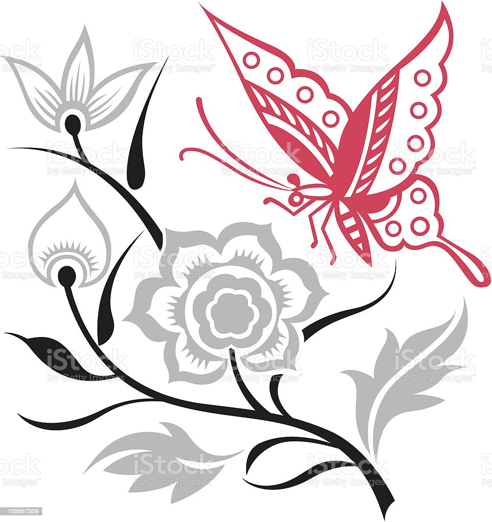 beautiful flower and butterfly royalty-free stock vector art