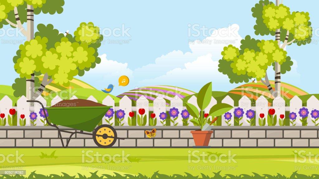 Belle Fleur Lit Vector Illustration Jardin Fleuri Au Printemps Fond