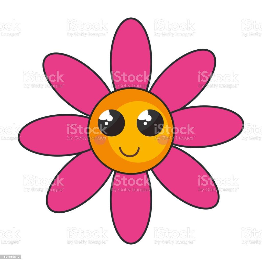 ilustración de carácter de flor hermosa kawaii y más banco de