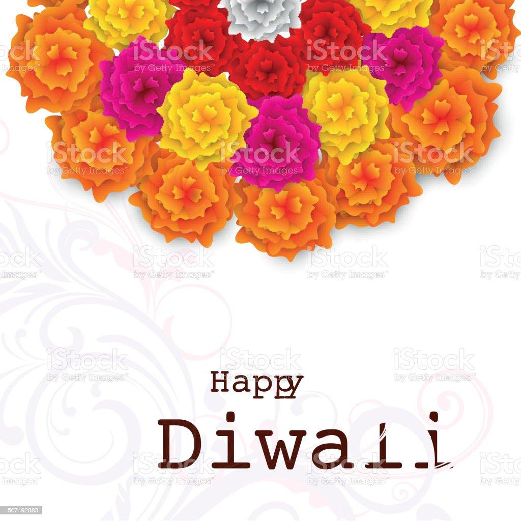 Beautiful Flower Rangoli For Happy Diwali Festival Celebrations ... for Flower Rangoli Vector  587fsj
