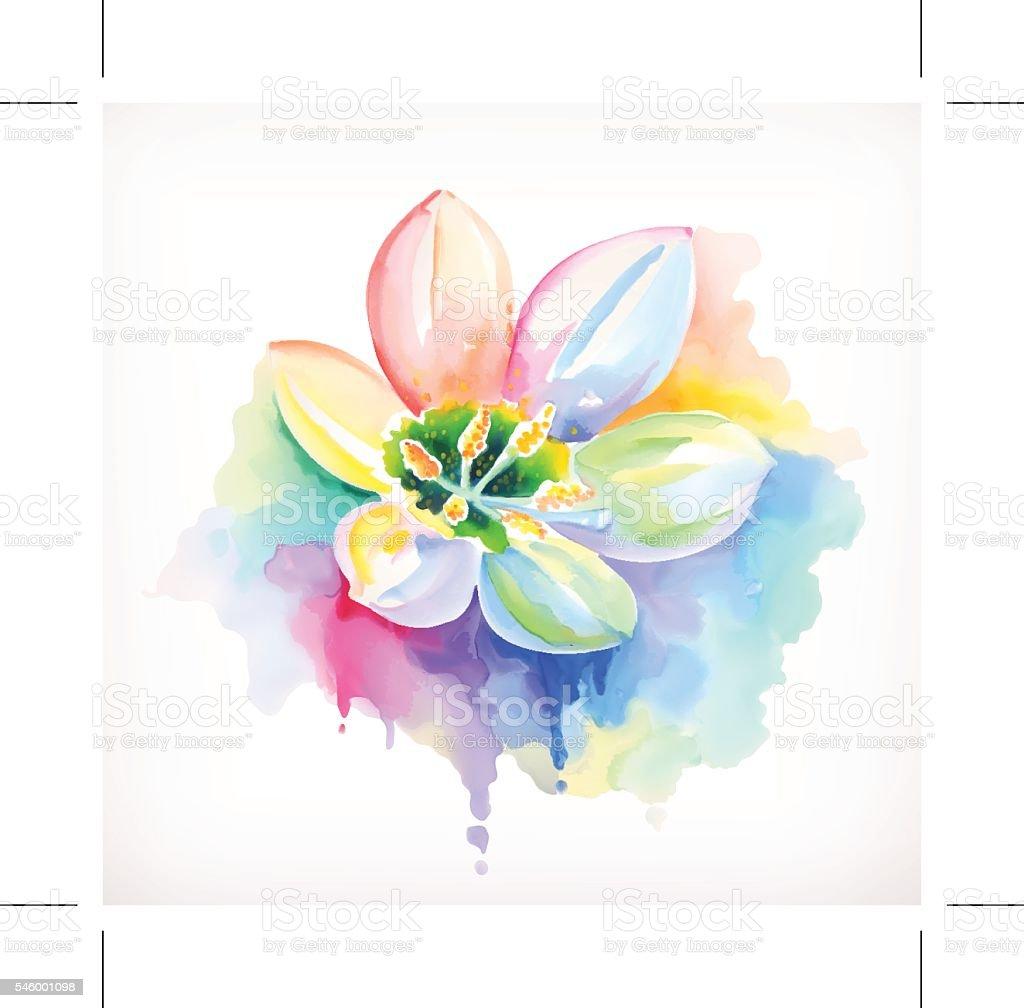 Beautiful Flower Watercolor Painting Mesh Vector Stock Vector Art