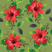 beautiful hibiscus flower with leave seamless pattern