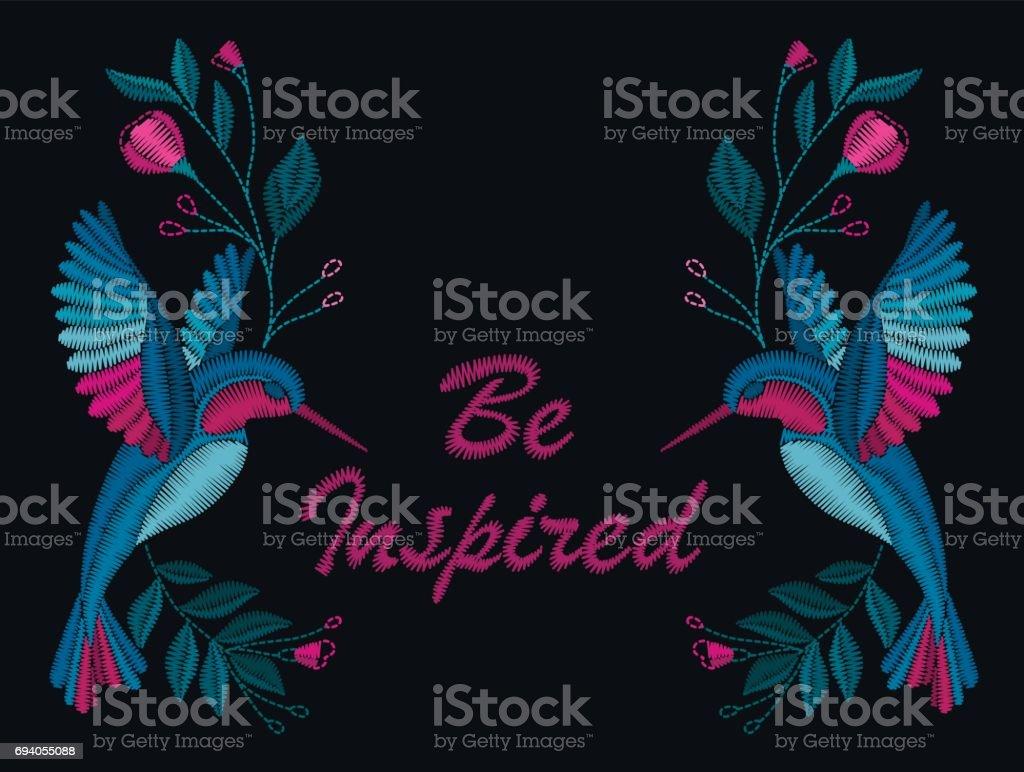 Ilustración de Hermosas Flores Y Aves Bordado Para La Moda y más ...