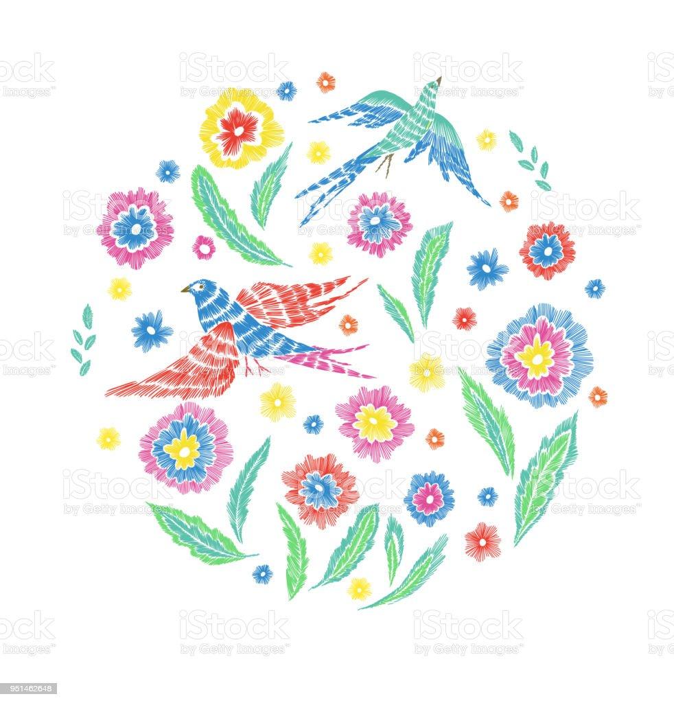 Ilustración de Patrón Hermoso De Flores Y Pájaros En Mano Estilo ...