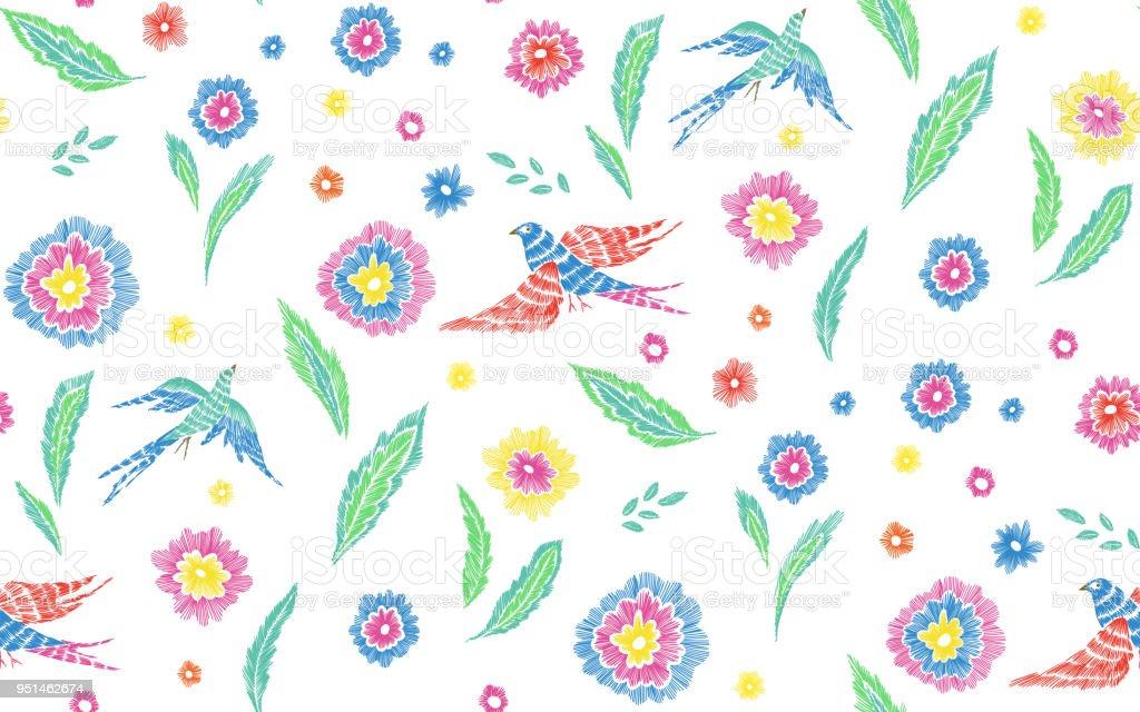 Ilustración de Hermosas Flores Y Aves Patrones Sin Fisuras En ...