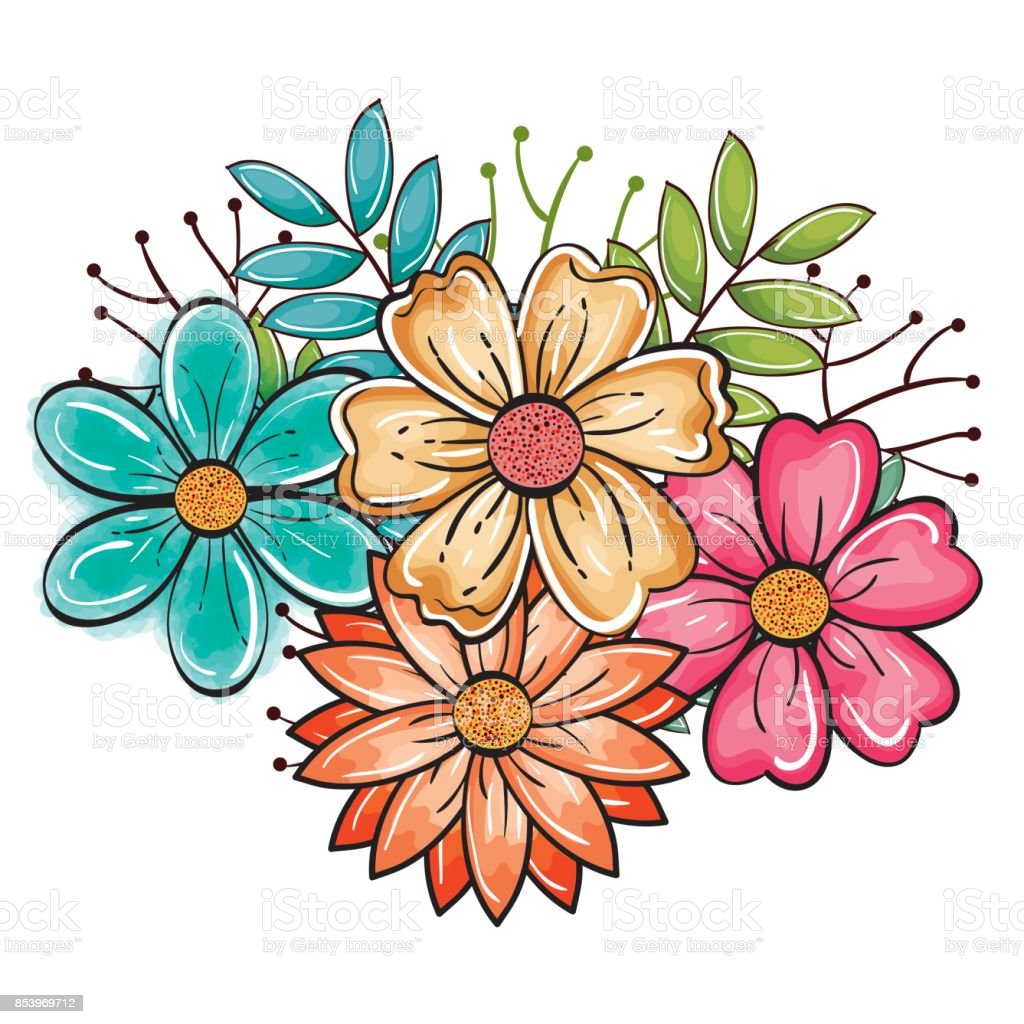 Vetores De Desenho De Lindas Flores E Mais Imagens De