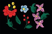 beautiful flowers embroidery vector for textile design elements