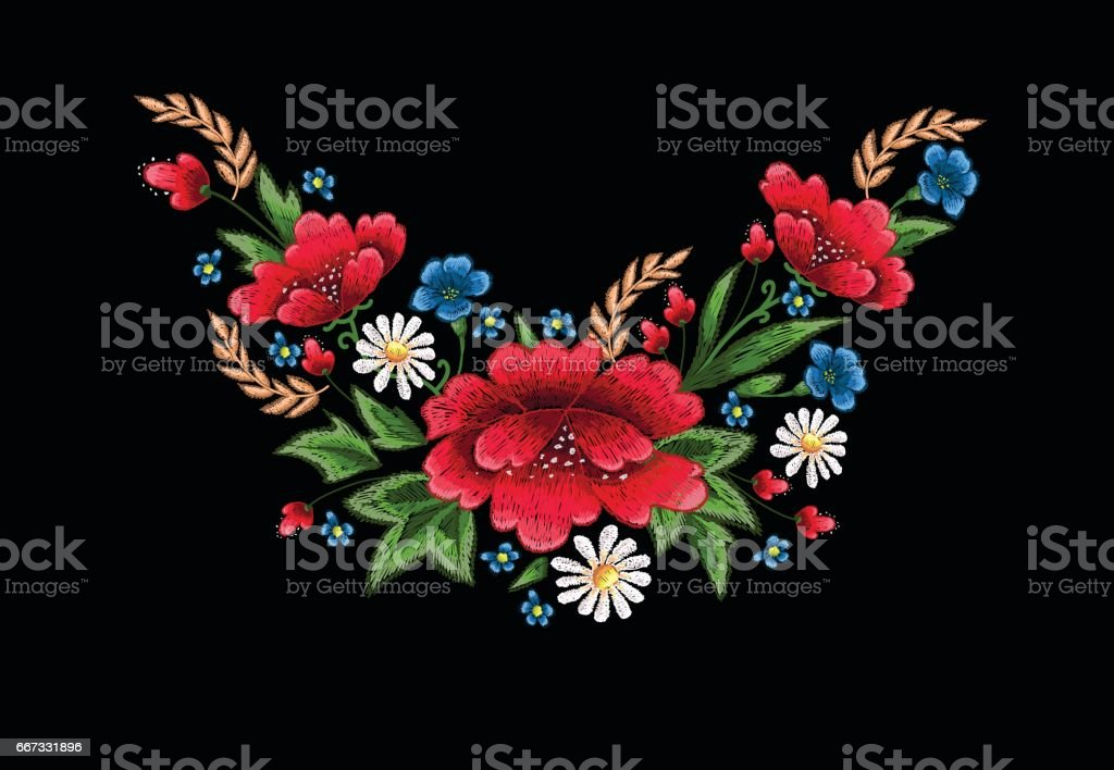 beautiful flowers embroidery vector for textile design elements vector art illustration