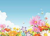 A meadow full of beautiful flowers, bees and butterflies in spring or summer, and a blue sky in the background with space for text. EPS 8, fully editable, grouped and labeled in layers.