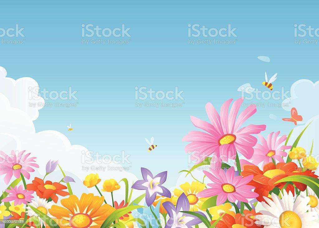 Schöne Blumen auf einer Wiese – Vektorgrafik