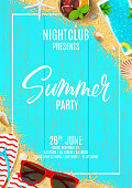 Beautiful flyer for summer party. Top view on flip flops, seashells, red sun glasses, cocktail, smartphone and sea sand on wooden texture. Vector illustration. Invitation to nightclub.