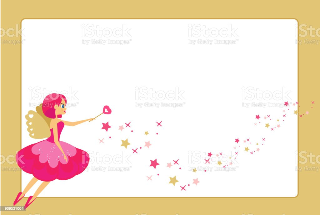 Beautiful Flying Fairy Character Elf Princess With Magic Wand Golden