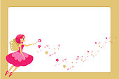 Beautiful Flying Fairy Character Elf Princess With Magic Wand Golden Frame Design Template For