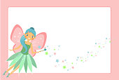 Golden Frame Design Template For Beautiful Flying Fairy Character With Pink Wings Elf Princess Magic Wand