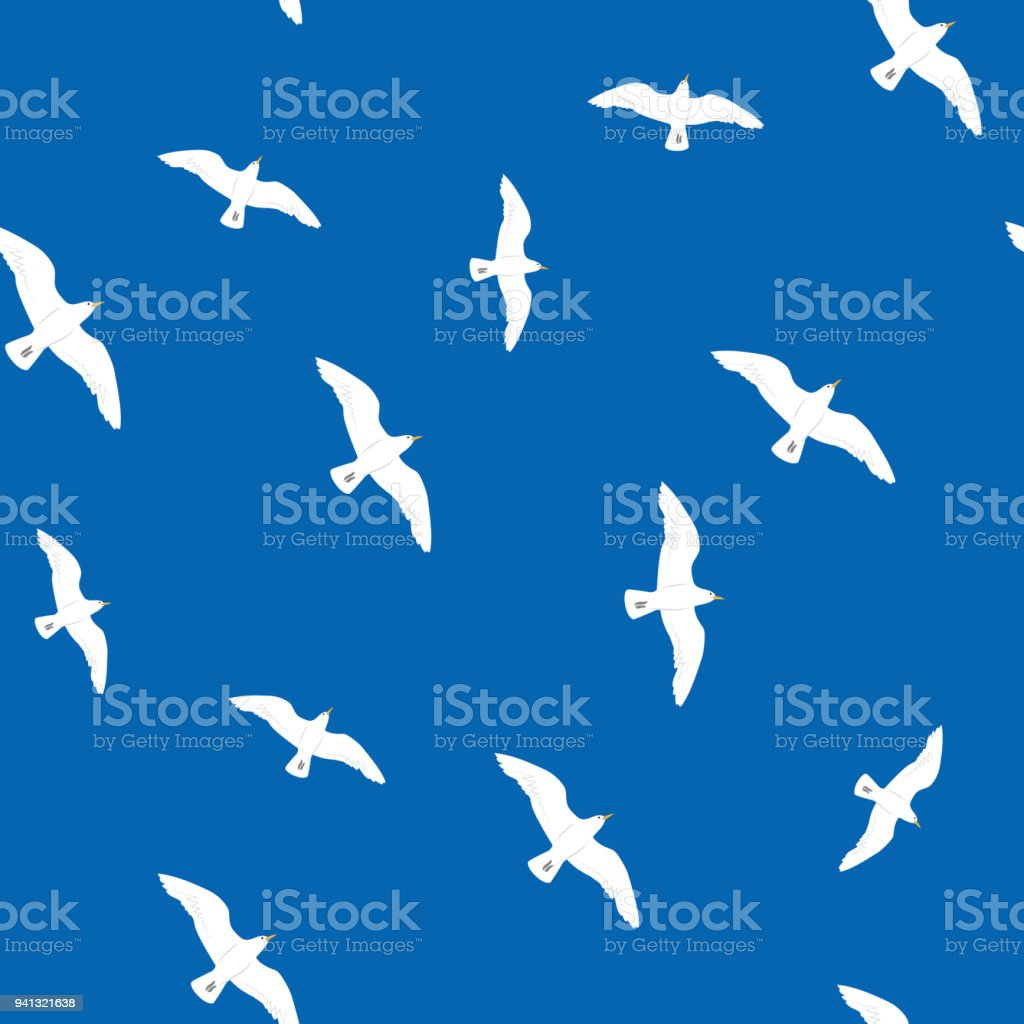 Beautiful flying seagulls in the blue sky seamless pattern royalty-free beautiful flying seagulls in the blue sky seamless pattern stock vector art & more images of animal