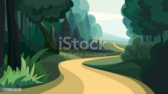 Beautiful forest landscape. Natural scenery in cartoon style.