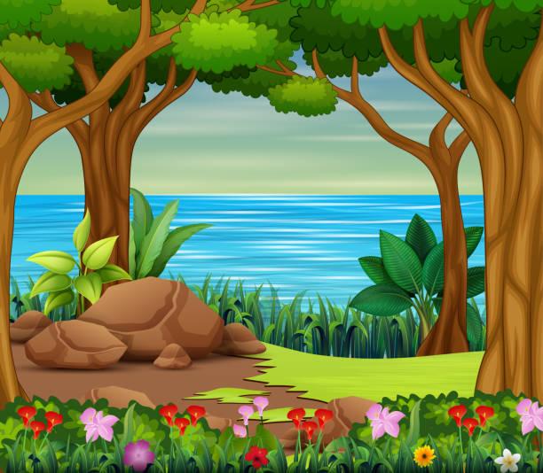 川と木々の美しい森のシーン ベクターアートイラスト