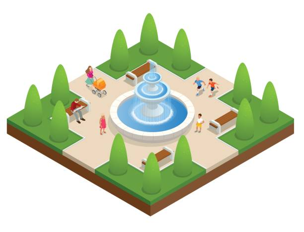 beautiful fountain in the park. a zone of rest and relaxation. children play near the fountain. flat vector isometric on white background - fontanna stock illustrations
