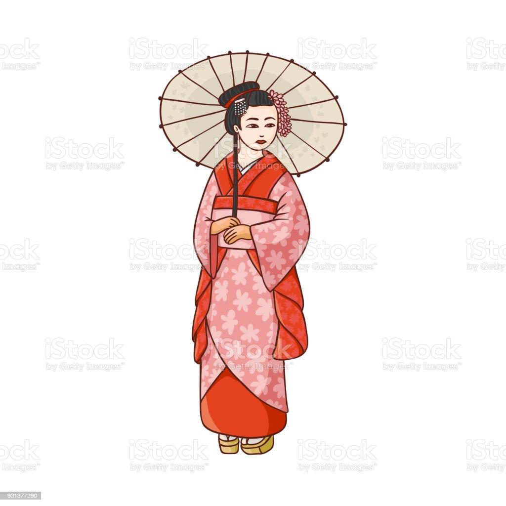 Ilustración de Hermosa Geisha En Kimono Japonés Con Paraguas y más ...