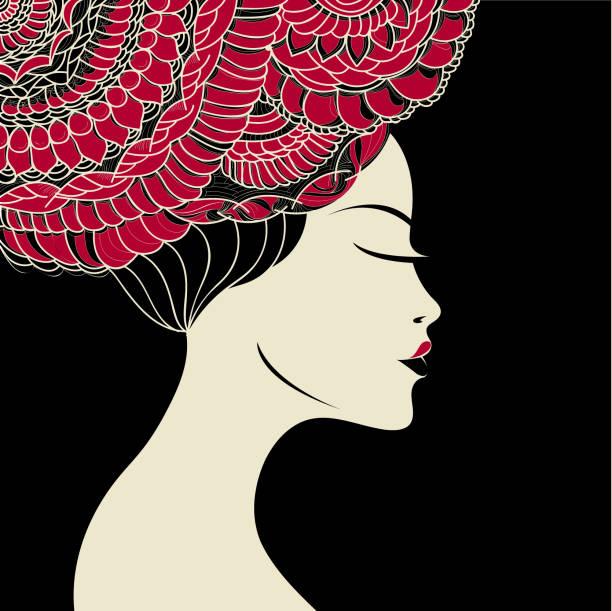 ilustraciones, imágenes clip art, dibujos animados e iconos de stock de mujer hermosa geisha, usando un accesorio decorativo cabeza y maquillaje ceremonial. - asian woman