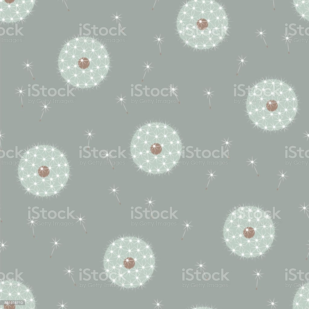 Beautiful gentle white dandelions seamless pattern royalty-free beautiful gentle white dandelions seamless pattern stock vector art & more images of arts culture and entertainment
