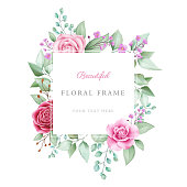 Beautiful geometric watercolor floral frame. Fully editable vector watercolor floral decorative for cards composition