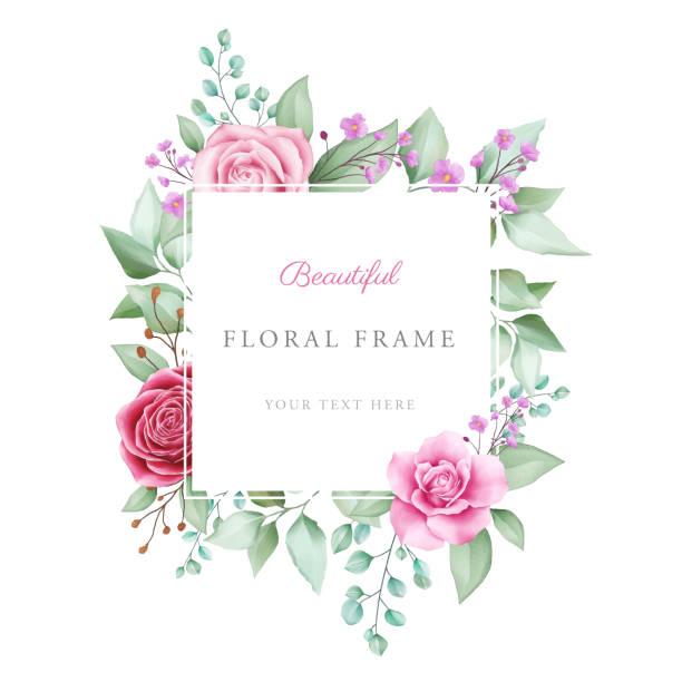 schöne geometrische aquarell floralrahmen - clipart goldene hochzeit stock-grafiken, -clipart, -cartoons und -symbole