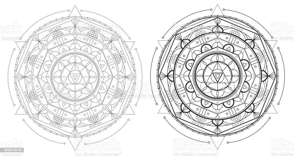 Ilustración de Mandala Geometría Hermosa Con Elementos Repetidos ...