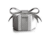 Engraving illustration of a Beautiful small gift box