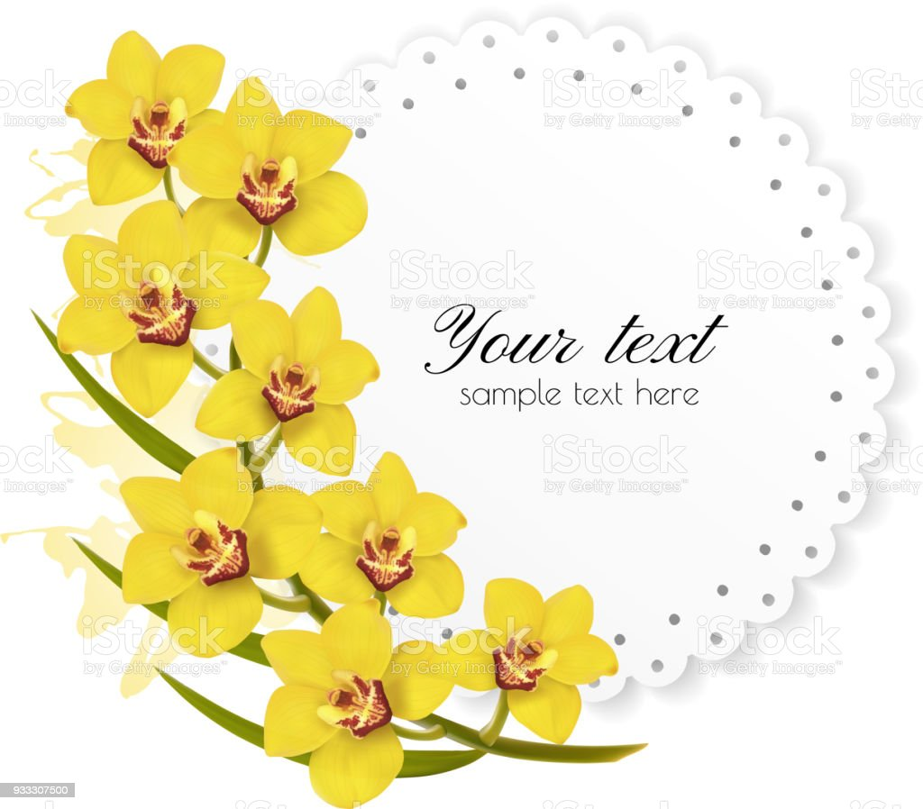 Beautiful Gift Card With Yellow Flowers Vector Stock Vector Art