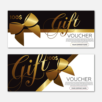 Beautiful gift voucher template. Gold ribbon and black background.