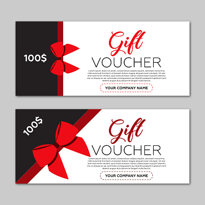 Beautiful gift voucher template. Red ribbon and gray background.