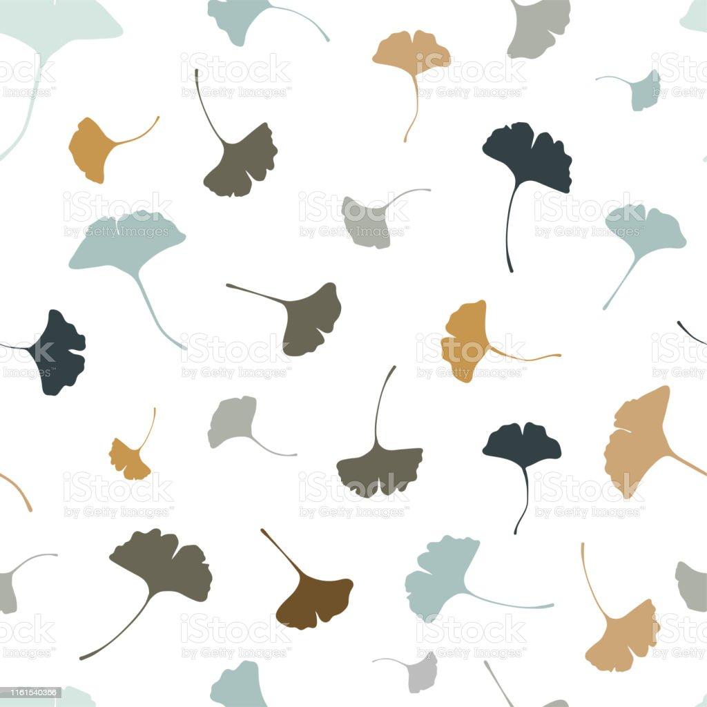 美しいイチョウはシームレスなパターンナチュラルブルーとベージュの秋