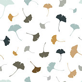 Beautiful Ginkgo leaves seamless pattern, natural blue and beige autumn background - great for fashion prints, health and beauty products, wallpapers, backdrops, banners - vector surface design
