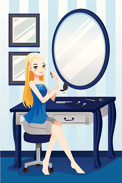 Makeup Clip Art: Royalty Free Woman Putting On Lipstick Clip Art, Vector