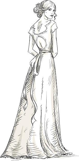 schöne mädchen.  braut.  bridal kleid. hand drawn. vektor. - langhaarspitzen stock-grafiken, -clipart, -cartoons und -symbole