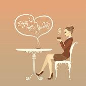 Beautiful girl drinking coffee, enjoy your morning, vector illustration
