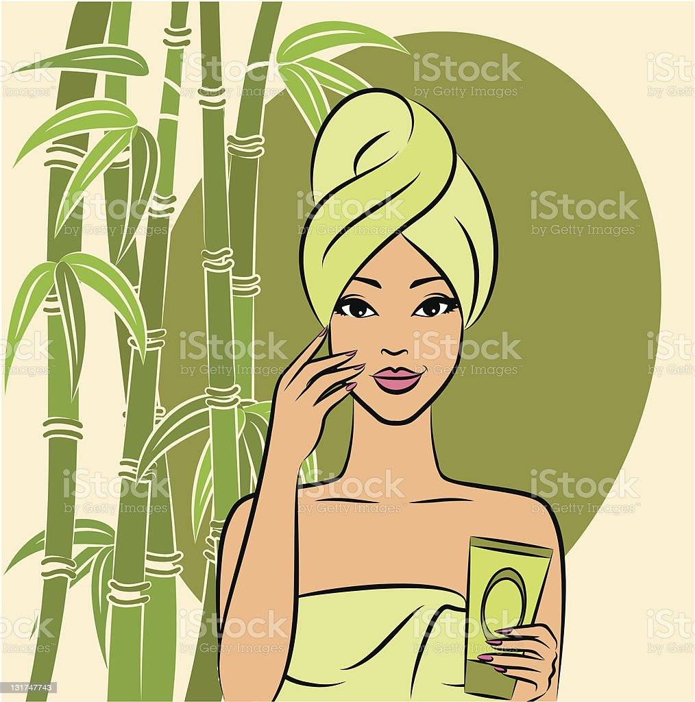Beautiful girl during beauty ritual. Vector royalty-free beautiful girl during beauty ritual vector stock vector art & more images of adult