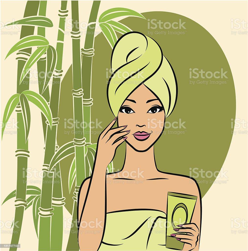Beautiful girl during beauty ritual. Vector vector art illustration