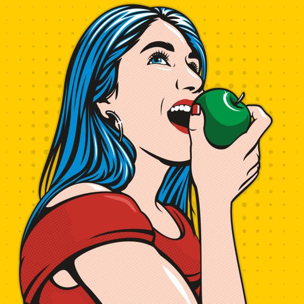 Beautiful Girl Eating An Apple vector art illustration