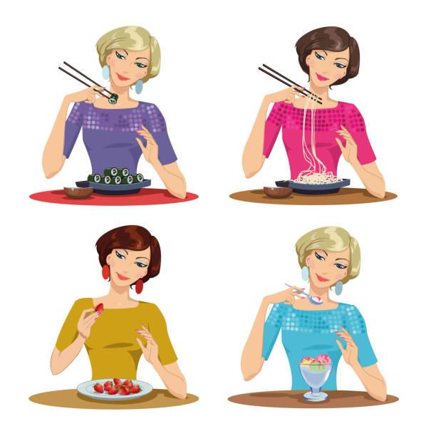 ilustrações de stock, clip art, desenhos animados e ícones de beautiful girl eats a delicious meal - woman eating salmon