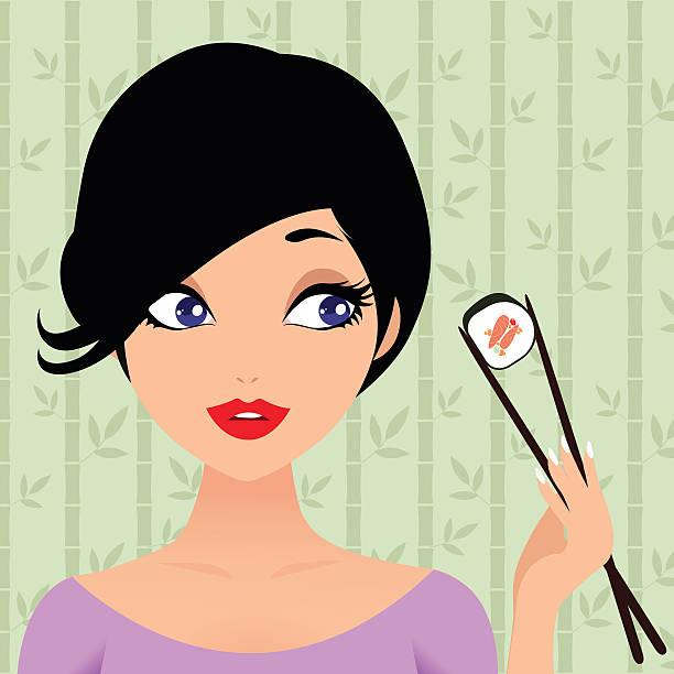 ilustrações de stock, clip art, desenhos animados e ícones de menina bonita desfrutando de sushi - woman eating salmon