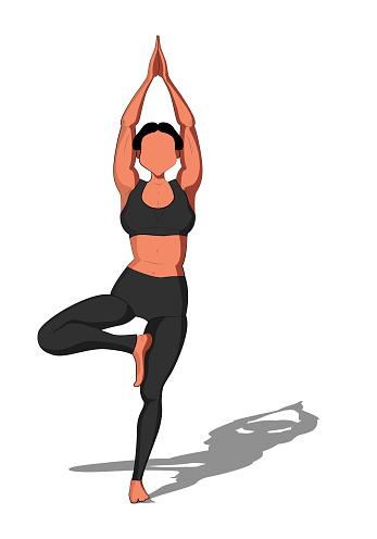beautiful girl exercising yoga yoga asana vrikshasana tree