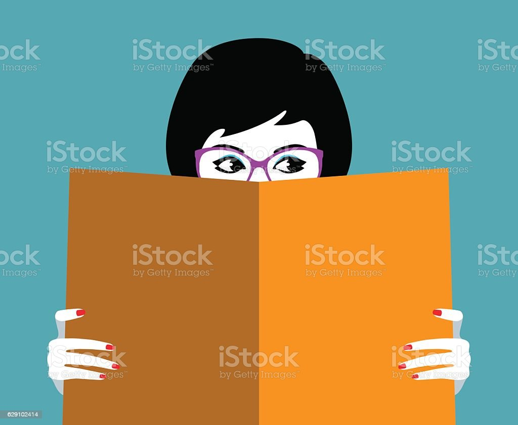 Beautiful girl face behind big book vector art illustration