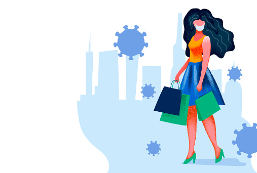 Beautiful girl in a dress and in white medical face mask, holding shopping bags. Bright veta and grainy texture. Flat coronavirus illustration.
