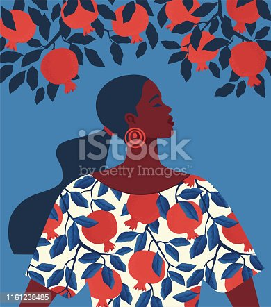 Beautiful girl in a dress with pomegranate pattern print and garnet tree background.