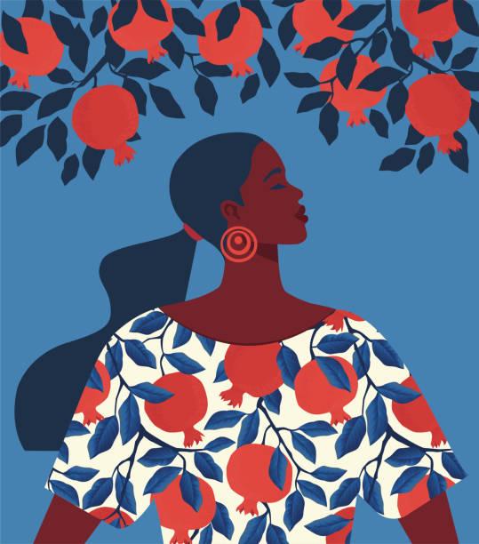 ilustrações, clipart, desenhos animados e ícones de menina bonita em um vestido com cópia do teste padrão da romã e fundo da árvore da grandada. - menina negra